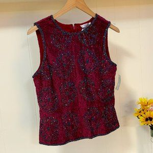 LAST CHANCE Paradise NY TOP Red EMBELLISHED BEADED